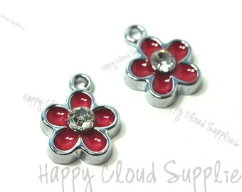 Little Red Daisy Flower Enamel Charms with Rhinestones... 4pcs...