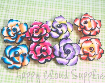 Black Lines Rose Polymer Clay Beads... 6pcs mix color
