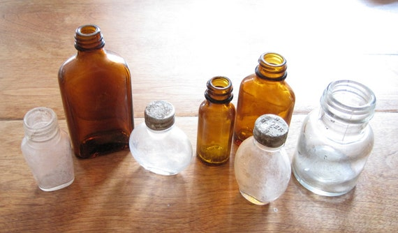 Instant collection - small brown and clear glass bottles