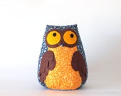 Medium owl toy in deep blue&orange - Machookahandmade