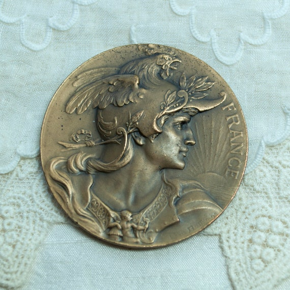 Vintage French Art Medal Bronze 20th Century Mercury Signed