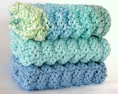 Knit Dishcloths Washcloths Hand Knitted Cotton Face Wash Cloth - Set of 3