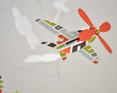 Baby Mobile, Airplanes in Orange with Arrow Pattern