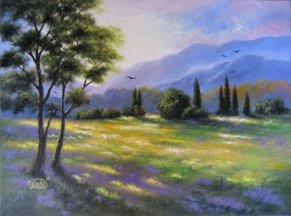 Hill Country Original Oil Painting - Vickie Wade art, mountain paintings, mountain meadow, landscape