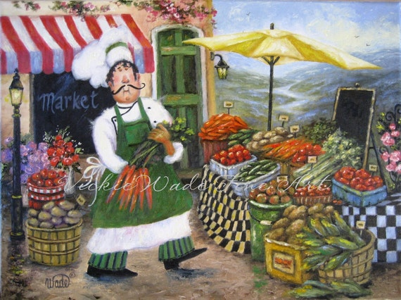 Market Chef Art Print Fat Chefs Chef Paintings Prints Chef