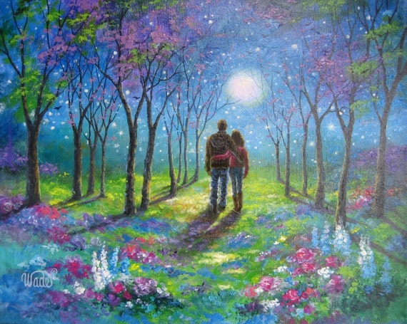 lovers in moonlight original oil painting lovers walking