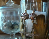 Steampunk Copper & Sterling Earrings with French Paste Crosses