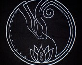 Nuit Star Goddess Patch in Silver on Black Canvas Thelema Egyptian