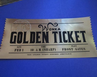Willy Wonka Golden Ticket Custom Prop Replica (modern)
