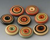 Southwest Discs - (8) Handmade Lampwork Beads - Red Tile, Olive