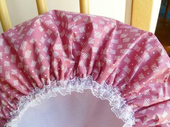 Waterproof Shower Cap Hat Bonnet Fashion Checkboard Pattern Soft Pink  Vinyl Cap Polyester Fabric Liner