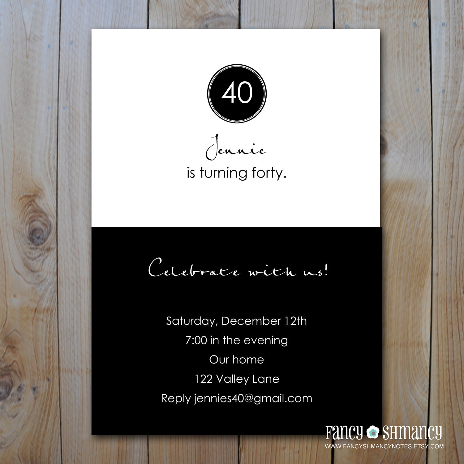Printable th Birthday Invitation Black and White