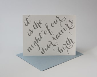 """Letterpress Christmas Card - Individual """"O Holy Night"""" Card in Silver"""