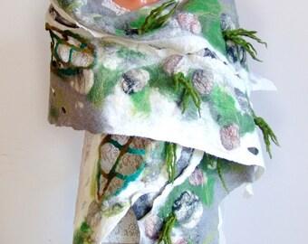 Felted  scarf,  Grey felt scarf Textile Art , Unique scarf , Woman wet felt scarf by Galafilc