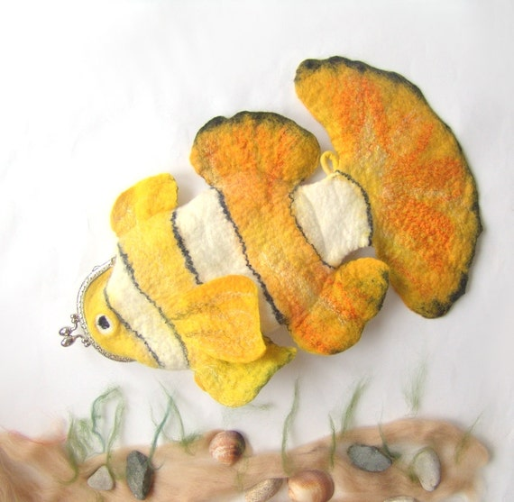 RESERVED Felted purse cosmetic Yellow Fish  Metal Frame  octopurse