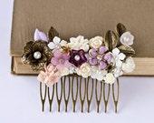 Purple Flowers Hair Comb - Autumn Fall Hair Accessory, Lavender Plum Vintage Shabby Chic Haie Piece, White Ivory Brass