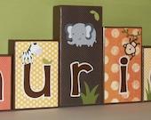 Personalized Wood Blocks - Jungle / Monkey / Safari - Baby Room Custom Name Letters - Green, Yellow, Orange - Baby Letter Blocks