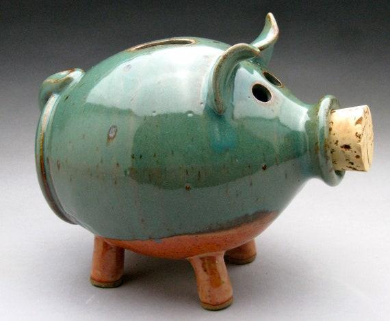 Blue And Tan Ceramic Piggy Bank