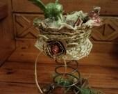 Green Hummingbird - Rusty Bed Spring & Horse Shoe, Bird Nest Christmas Decoration