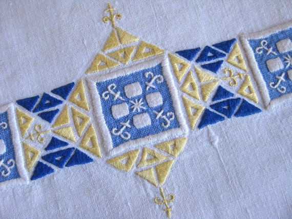 Linen Towel Blue and Yellow Embroidery Vintage