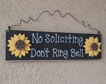 Free Shipping-  NO SOLICITING Don't Ring Bell with sunflowers sign (Black) for home and office hanging sign