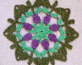 Crochet mandala, dreamcatcher doily, window hanger, crochet doily in green and violet colors, beaded