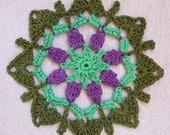 Crochet mandala, dreamcatcher doily, window hanger, crochet doily in green and violet colors, beaded