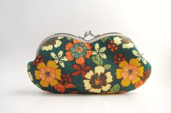 Sunglass/ Eyeglass Case - flowers on teal