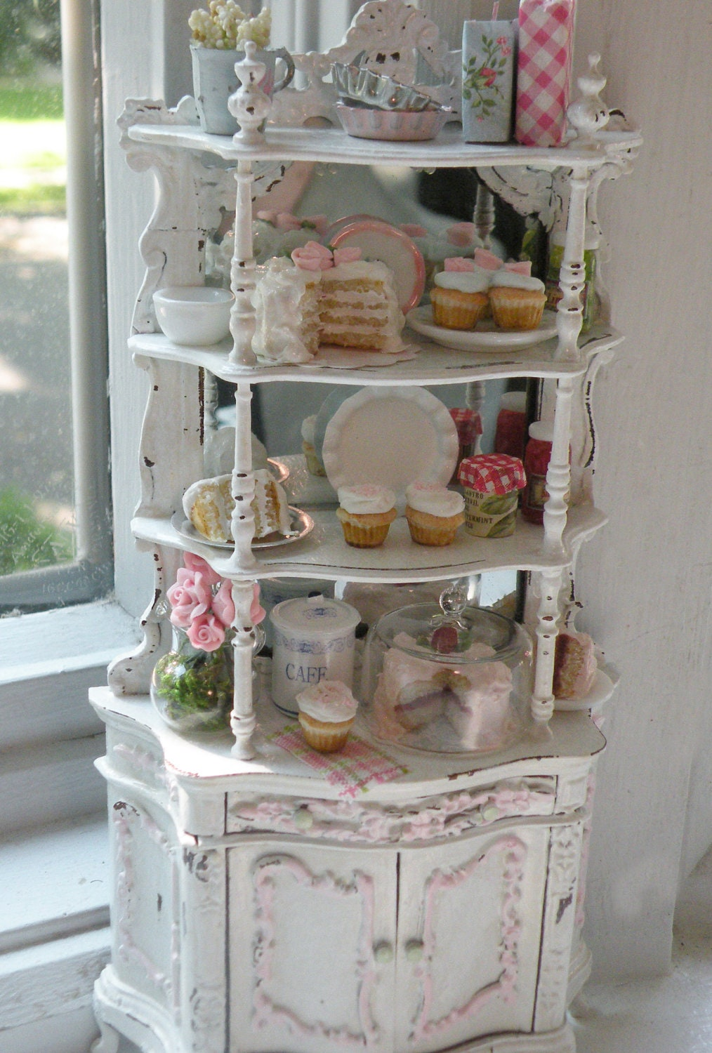 miniature bakery shabby chic etagere. Black Bedroom Furniture Sets. Home Design Ideas