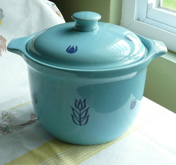 1950's Blue Tulip Bean Pot with Lid