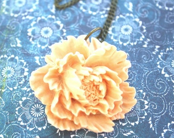 Peach peony necklace