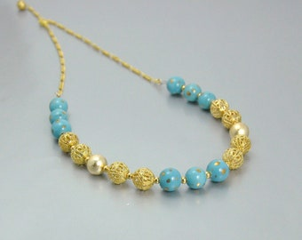 Turquoise and Gold Filigree Vintage Porcelain Bead Necklace