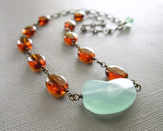 Reserved Aqua Blue Chalcedony  Amber Glass Necklace
