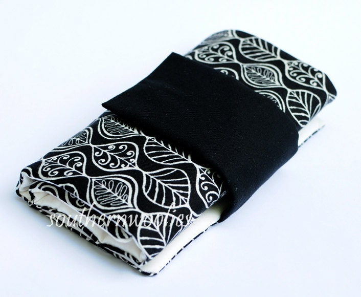Knitting Needle Case for Interchangeable Tips and Circulars - Classic Black and White with Accessory Clasp