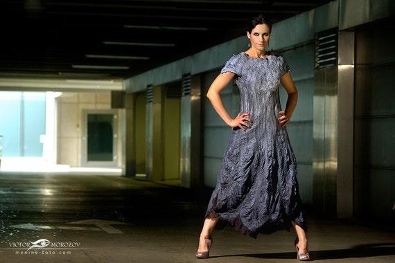 Night Ocean - nuno felted ombre dress