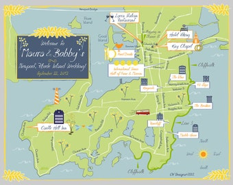 As Seen on Style Me Pretty - Custom Wedding Map Blue and Yellow Newport, Rhode Island Map
