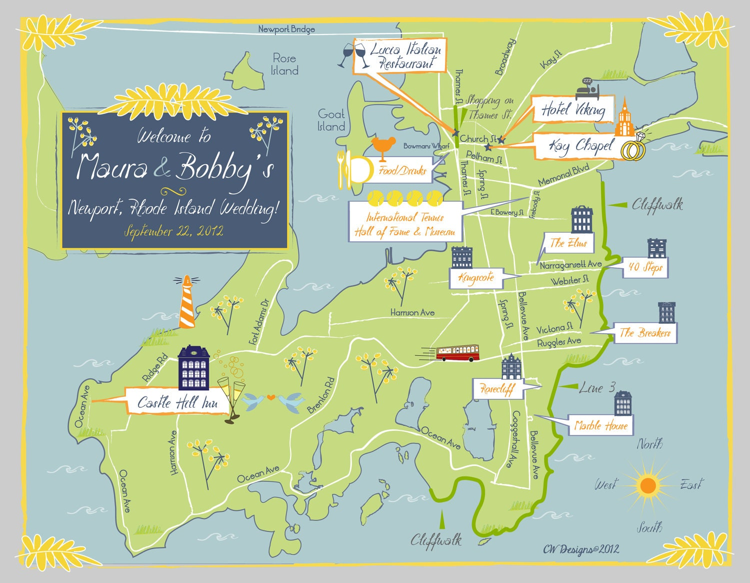 As Seen On Style Me Pretty Custom Wedding Map Blue And - Rhode island city map
