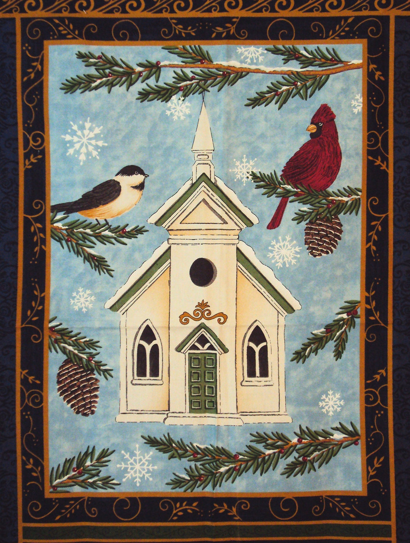 Christmas Songbirds Panel Moda Quilt Fabric Winter Song