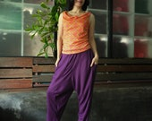Dark Purple Drop Crotch Straight Leg Cotton Mix Viscose Pants