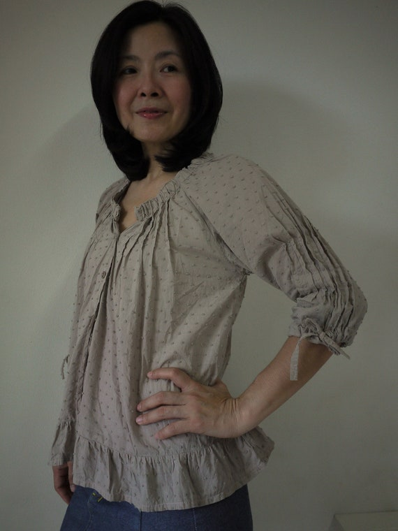 3/4 Raglan Sleeve Peasant Front Open Blouse Vest With Elastic Collar Hand Dyed In Beige