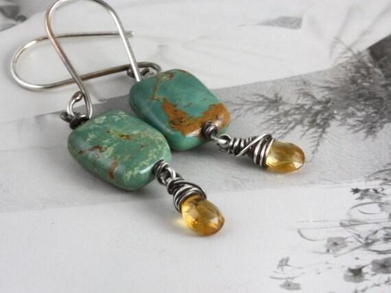 Boho Turquoise Golden Citrine  Sterling Earrings