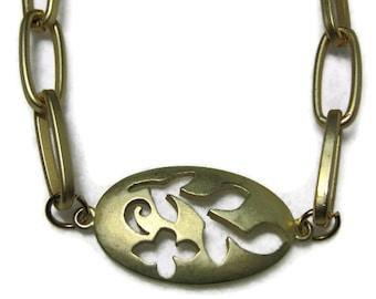 Satin Gold Metal Necklace, Floral Metal Necklace, Oval Floral Metal Choker Necklace