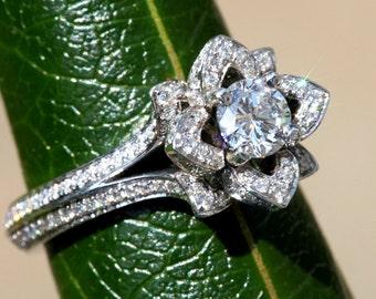 UNIQUE Flower Rose Diamond Engagement Ring  - 1.25 carat - PLATINUM -  fL05