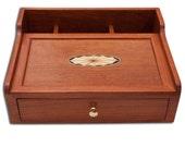 Wood Desk Organizer Dresser Box Valet, Cherry Inlaid Oval Fan, Custom Order