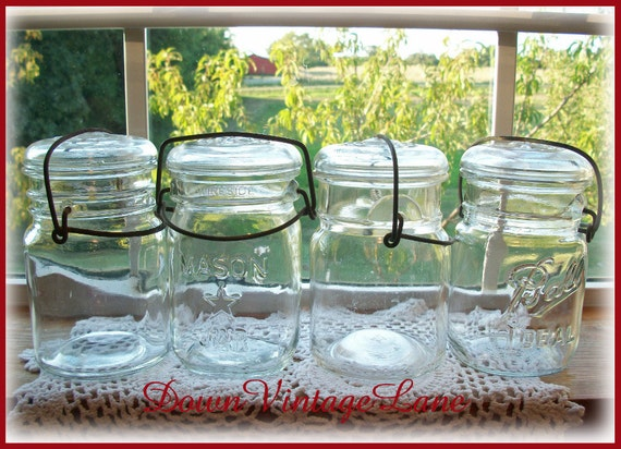 4 Pint Mason Jars with Wire Handles CLEAR
