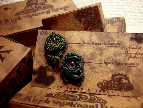 Lovecraft Inspired Earrings Light Green and Dark Green