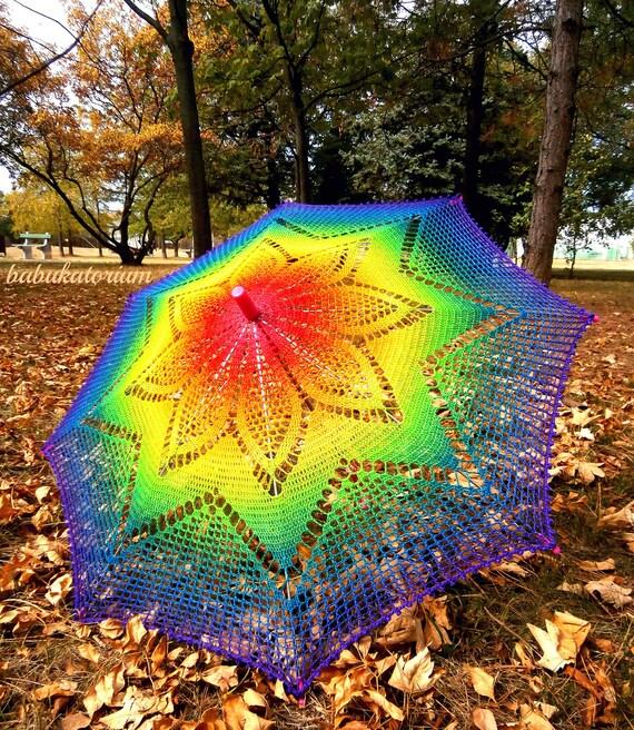 Solaster Rainbow Crochet Lace Parasol