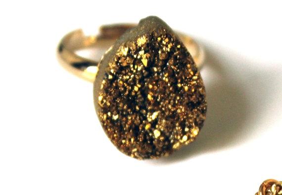 Sparkly Gold Druzy Teardrop Ring