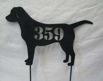 Lab Address Sign Metal Dog Yard Art Silhouette