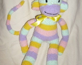Fuzzy striped sock Monkey Toy